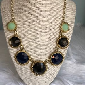 Green, Blue, Black Jeweled Statement Necklace